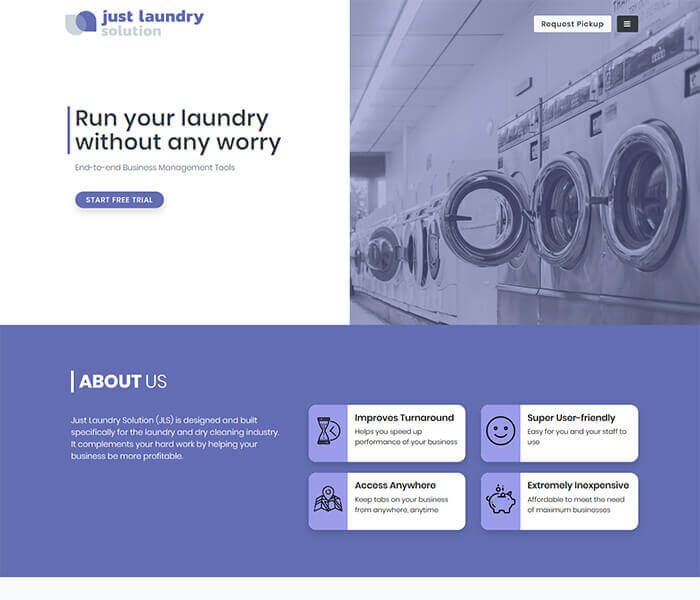 just laundry solution Web design and development, application